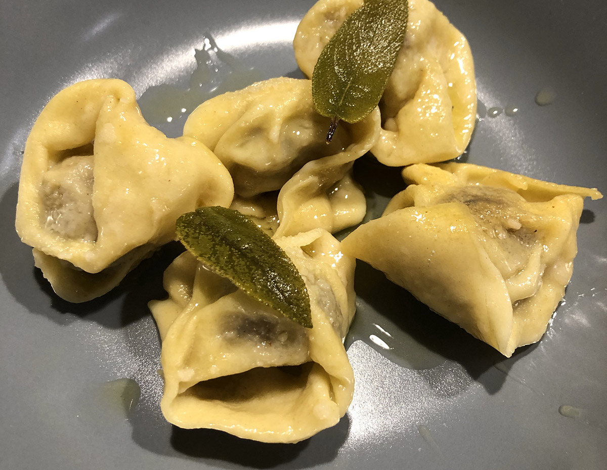 TORTELLI PASTA FILLED WITH BRESCIA ROAST AND SERVED IN A BUTTER AND SAGE SAUCE